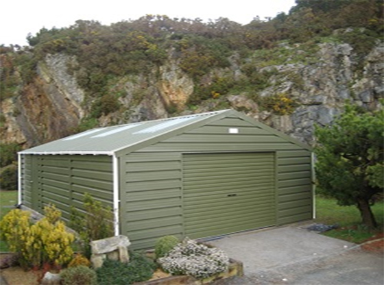 Olive green roller garage door