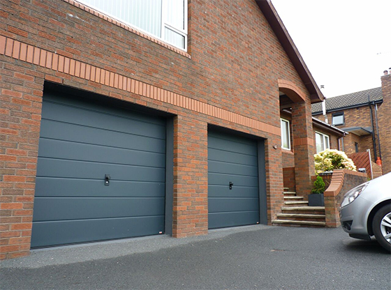 ThermAdor Residential Smooth Wide Ribbed Anthracite Insulated Sectional Garage Door