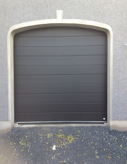 ThermAdor insulated garage door Wide Ribbed Deep Matt Smooth Black RAL 9005