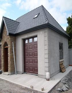 ThermAdor insulated sectional door Georgian Woodgrain Embossed Mahogany with plain windows