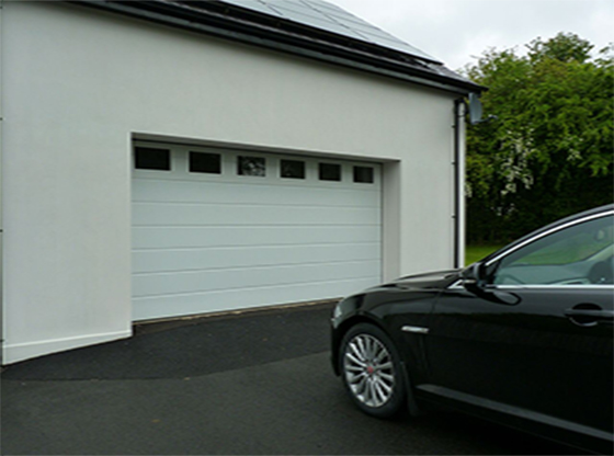 white wide ribbed insulated sectional garage door