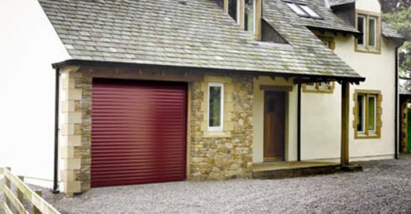 Burgundy insulated roller garage door