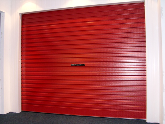 Burgundy roller door (in showroom)