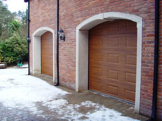 Golden oak Georgian automatic ThermAdor sectional garage door