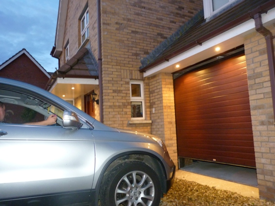 Mahogany Ribbed ThermAdor insulated sectional garage door