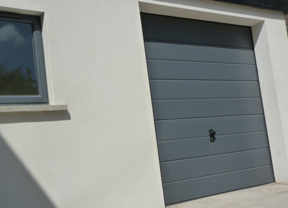 Wide ribbed sectional door RAL colour to match windows