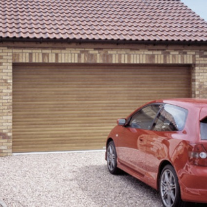 Seceuroglide double garage woodgrain