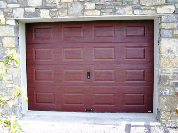 ThermAdor sectional door mahogany Georgian with lock