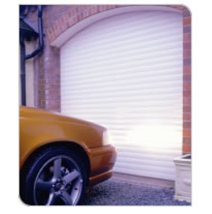 White insulated roller garage doors with timber frame surround